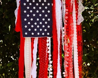 Diy craft kit flag banner shabby chic american flag diy craft kit flag banner shabby chic american flag create your own do it yourself craft supplies flag banner usa flag fabric solutioingenieria Choice Image