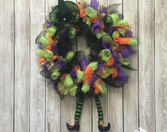diy kit witch wreath mesh witch wreath halloween wreath deco mesh wreath witch leg wreath craft kit create your own diy kit - How To Make A Christmas Wreath With Mesh