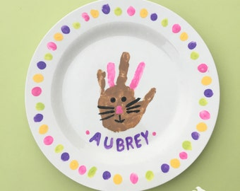Easter Bunny Handprint Plate - Family/Kids Craft Party - Kids Craft - DIY Kit - Create your own - Hand print craft - Hand-print Bunny