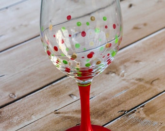 Christmas Painted Wine Glass - Paint Your Own Wine Glass  - DIY KIT - Craft Kit - Create your own painted wine glass - Christmas Craft