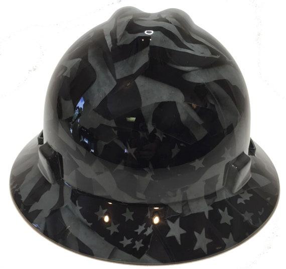 Custom Hard Hat MSA V-Gard Full Brim Silver Metallic Graffiti