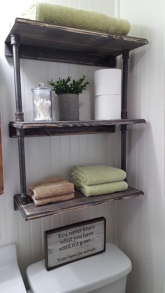Rustic farmhouse bathroom shelves Over the toilet shelves | Etsy