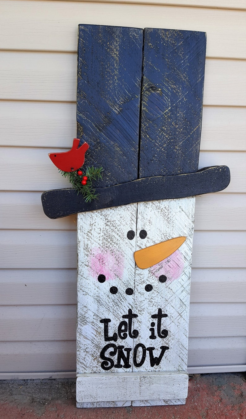 Reversible Fall Winter Sign 2 in 1 Sign Snowman Scarecrow image 0