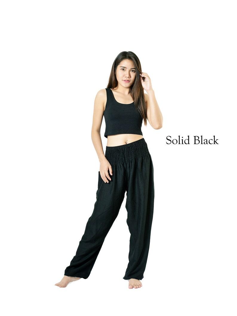 Yoga Pants Solid white pants Orient Trail Smocked Waist Hippie Pants Boho Pants Harem Pants size 0-22 Solid black pants