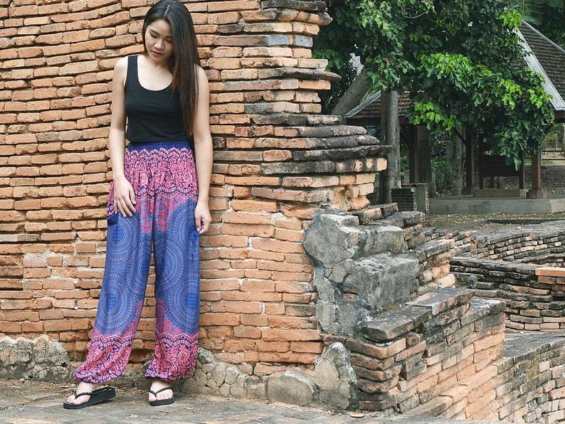 Orient Trail Mandala Design Smocked Waist Harem Pants Size 0-22 Hippie Pants Yoga Pants Boho Pants Womens
