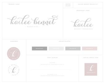 Calligraphy Script Premade Logo Design - Blog Header - Simple Logo - Watercolor Logo - Signature Logo - Photography Logo - Watermark Design