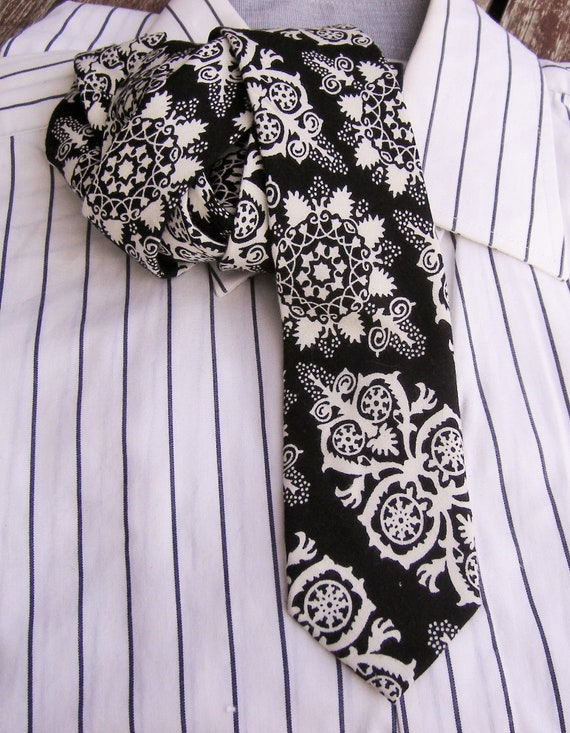 Vintage Mens Neckties Retro tie Black and white Men | Etsy