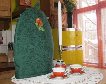 Silk Coffee Pot Cozy, Christmas Cozy, Green, Silk Coffee Pot Warmer, Handmade, Large Size, Embroidered