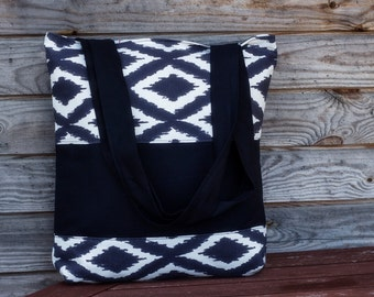 Black and White Tote bag,  Cotton bag, Grocery Reusable Bag, Eco-friendly Natural Beach Tote, Tote bags, Boho chic, Shopping bag, Hippie bag