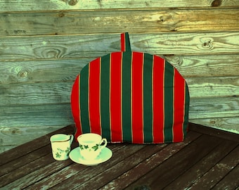 Striped Coffee Pot Cozy, Red Green Cotton Cozy, Red, Green,  Coffee Pot Warmer, Handmade, Large Size,