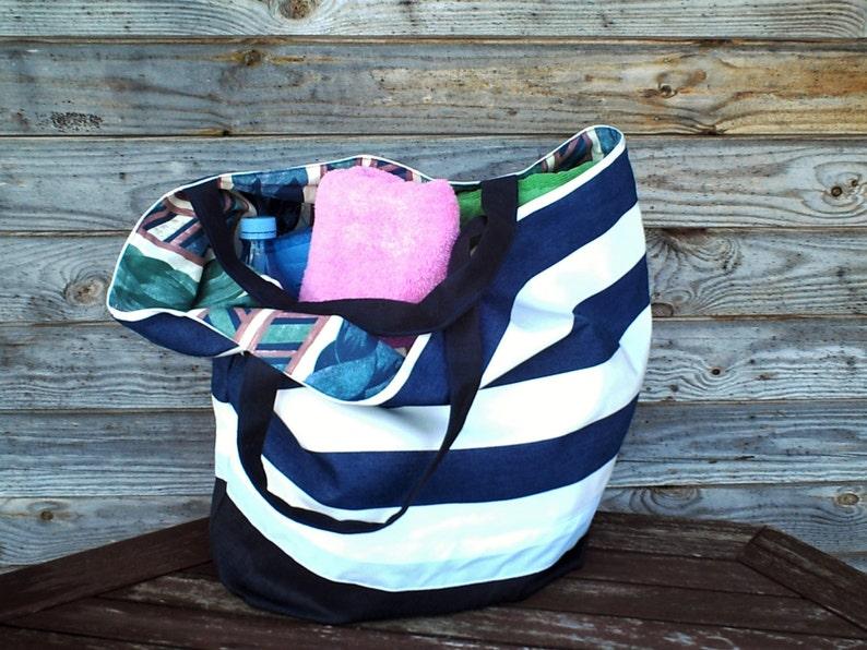 Revesible Tote bag Extra Large Bag Groceries Reusable Bags  Natural Beach Bag Custom Tote Large White Blue striped Tote Bag Shopping Bag