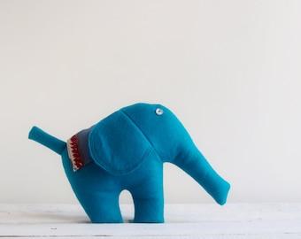 Handmade Stuffed Elephant, Soft Plush Toy, Baby Nursery Decor, Handmade, Waldorf Toy, Fleece Animal, Shower Gift