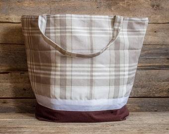 Large Plaid Tote Bag Extra Large Bag Grocery Reusable Bag  Natural Beach Bag Shopping Bag Custom Tote Revesible Tote bag