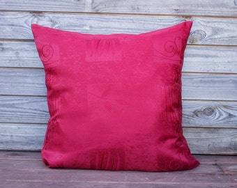 Dark Red  Pillow Cover, Decorative Pillow, Gift for Her, Dark Red Cushion, Throw pillow, Pillow sham, RE-USED