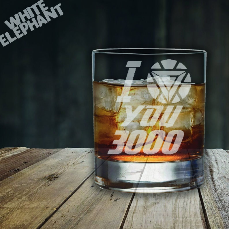Laser Etched Iron Man I Love You 3000 Whiskey/Highball/Pint Whiskey - 305ml