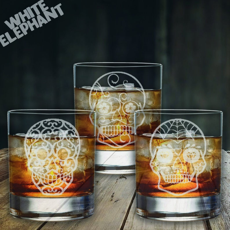Laser Etched Sugar Skull 3 Whiskey/High-Ball/Pint Glass Gift Whiskey - 305ml