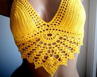 Yellow crochet top, crochet bikini top