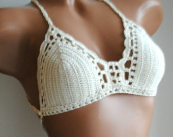 Crochet bikini set, cream crochet swimsuit