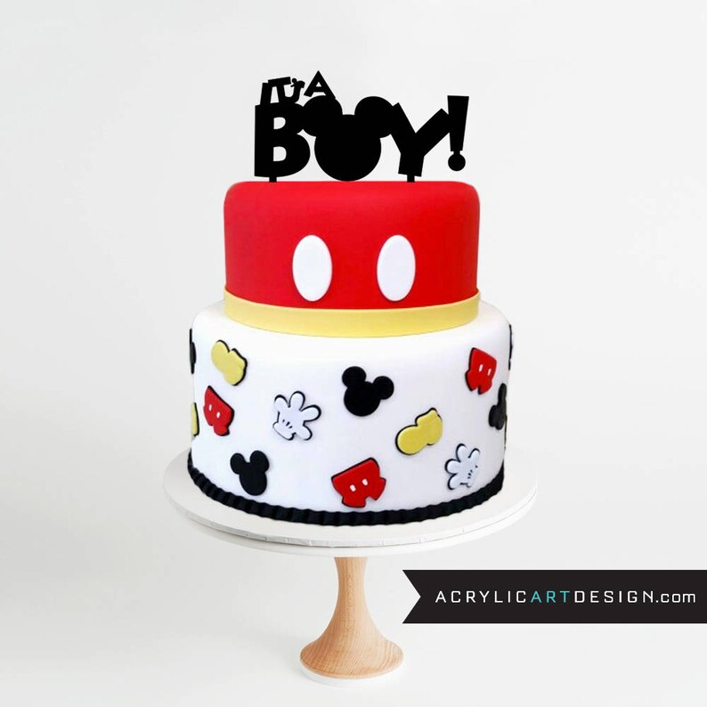 Mickey Mouse Cake Topper - It's a Boy ! Baby Shower, Mickey Ears, Mickey  Mouse, Personalized, Custom, Acrylic