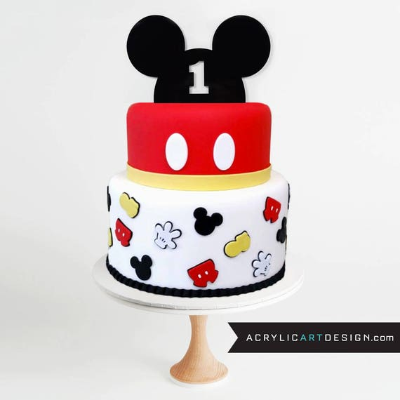 Mickey Mouse 1st Birthday Cake: Mickey Mouse Cake Topper . First Birthday . One Cake