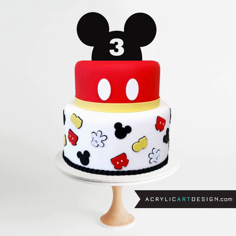 Mickey Mouse Cake Topper Third Birthday Three Birthday