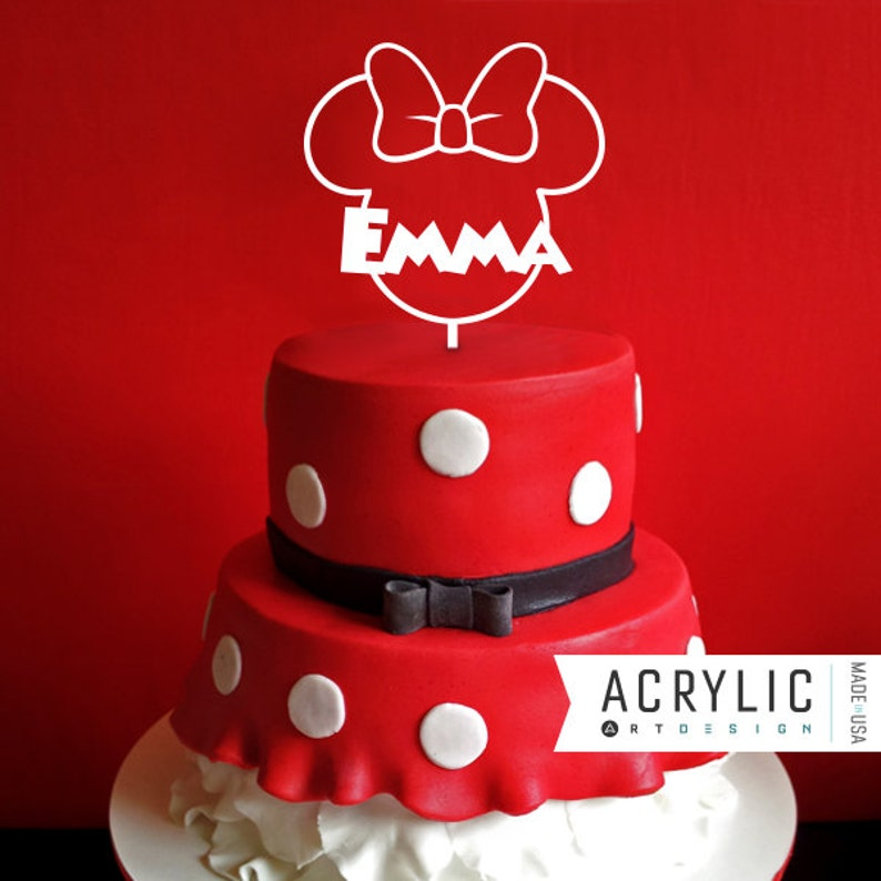 Minnie Mouse Cake Topper, First Birthday, Mickey Ears, Mickey Mouse,  Personalized, Custom, Acrylic, Wood