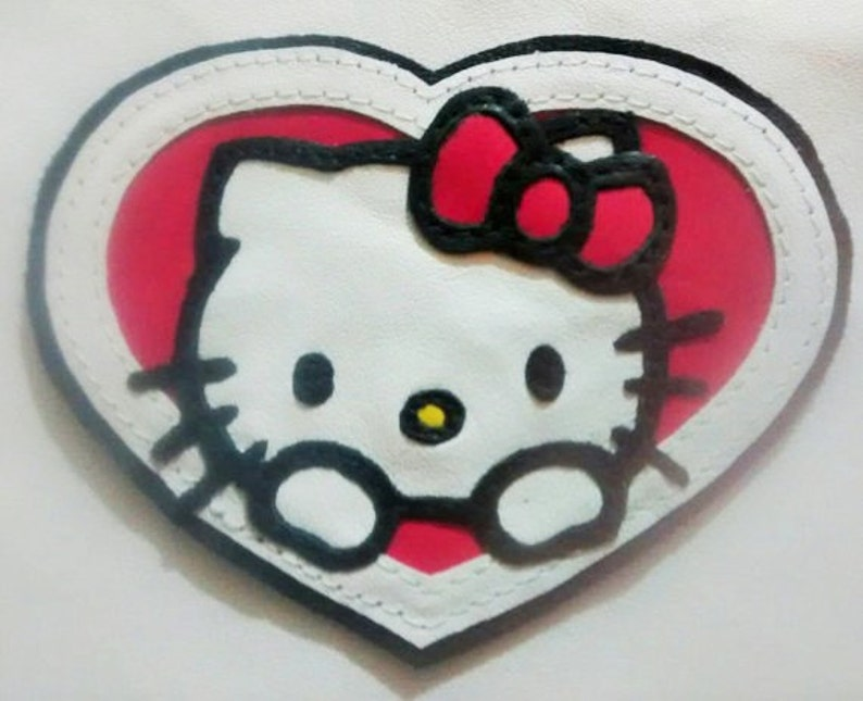 Hello kitty leather patch applique backpack etsy