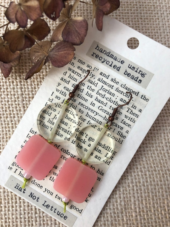 Unique Upcycled Drop Earrings, Handmade, Recycled Slow Fashion, Sustainable Jewellery, Eco-friendly, Ethical, Statement Piece, Gift For Her