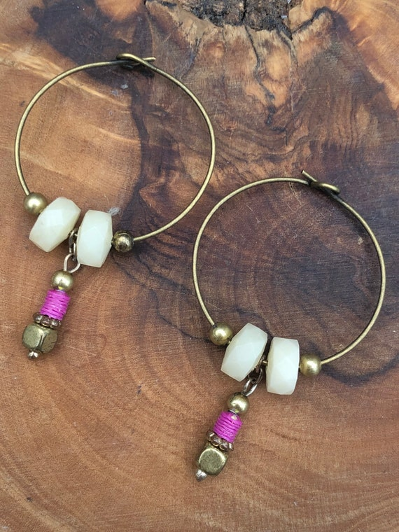 Unique Upcycled Hoop Earrings, Handmade, Recycled Slow Fashion, Sustainable Jewellery, Eco-friendly, Ethical, Statement Piece, Gift