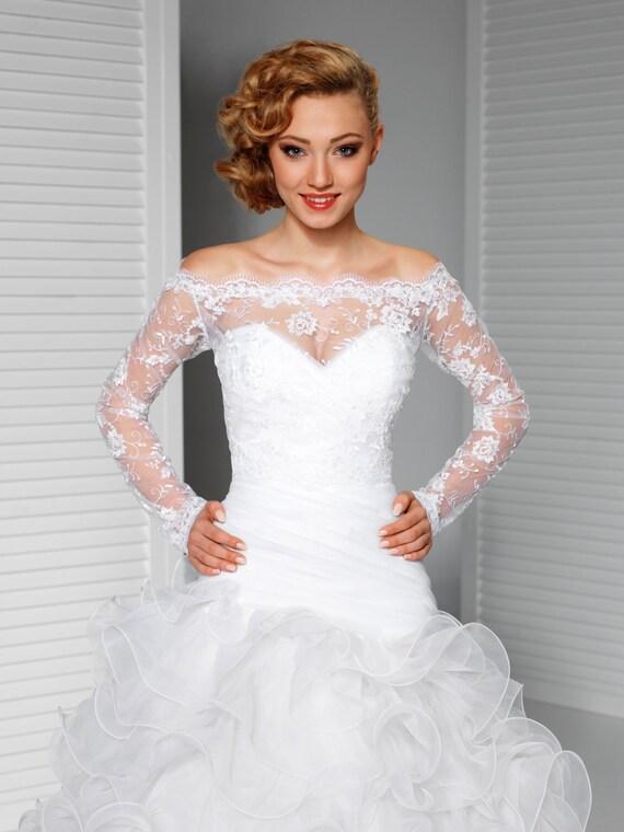 Off-Shoulder Alencon Lace Bolero Jacket Bridal Bolero Bridal | Etsy