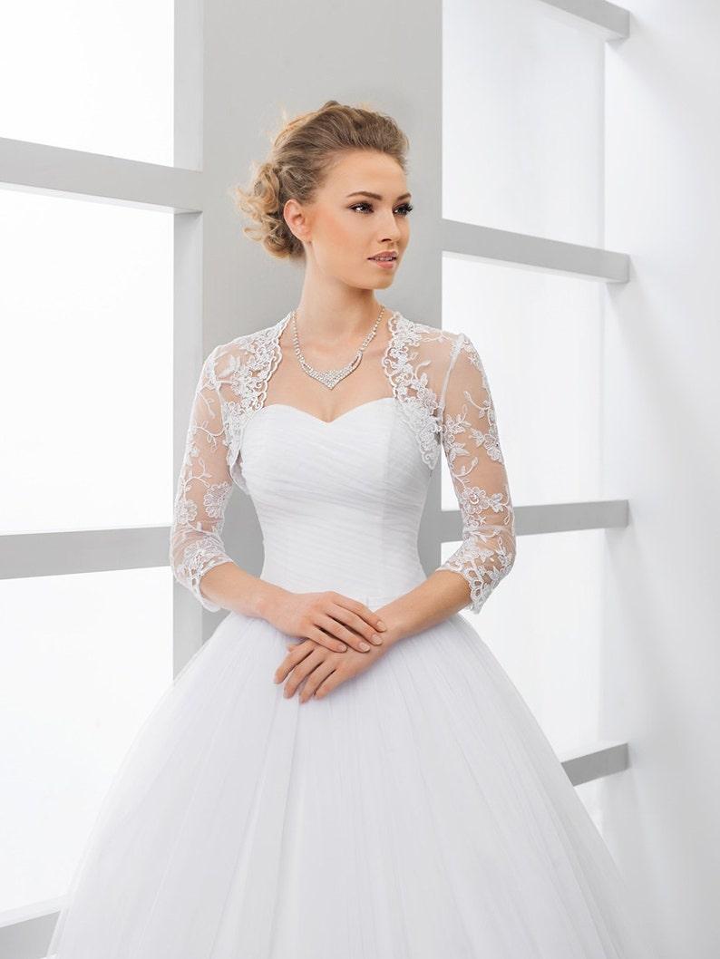 3//4 Sleeves Wedding Lace Bolero Jacket Off Shoulder White Ivory Bridal Wraps