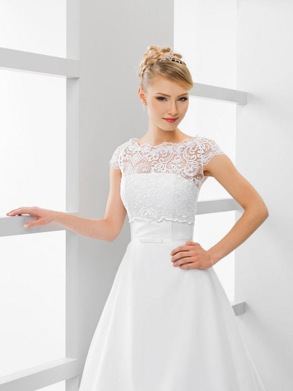 1afd6fccd5 Bridal Lace Top Bridal Lace Bolero Wedding Top Bridal Crop | Etsy