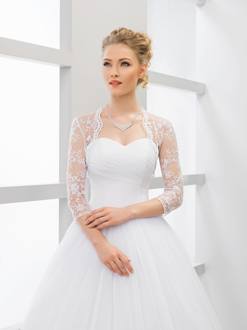 617c938727 Wedding lace bolero bridal lace top wedding top bridal lace | Etsy