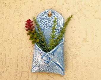 Wall Pocket, handmade ceramic, garden pottery, air plant planter, garden decoration, succulent planter, wall decor, trinket holder