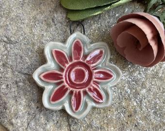 Artisan Charm, Flower Pendant, Jewelry Supply, Handmade Ceramic, Charm, Focal Bead, Clay Bead, Necklace Charm