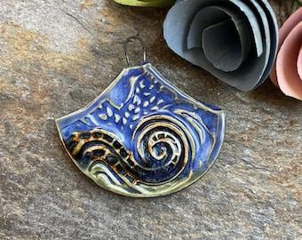 Artisan Charm, Pendant, Necklace Charm, Unique pendant, Handmade Ceramic, Boho Charm, Jewelry Supply, Focal Bead