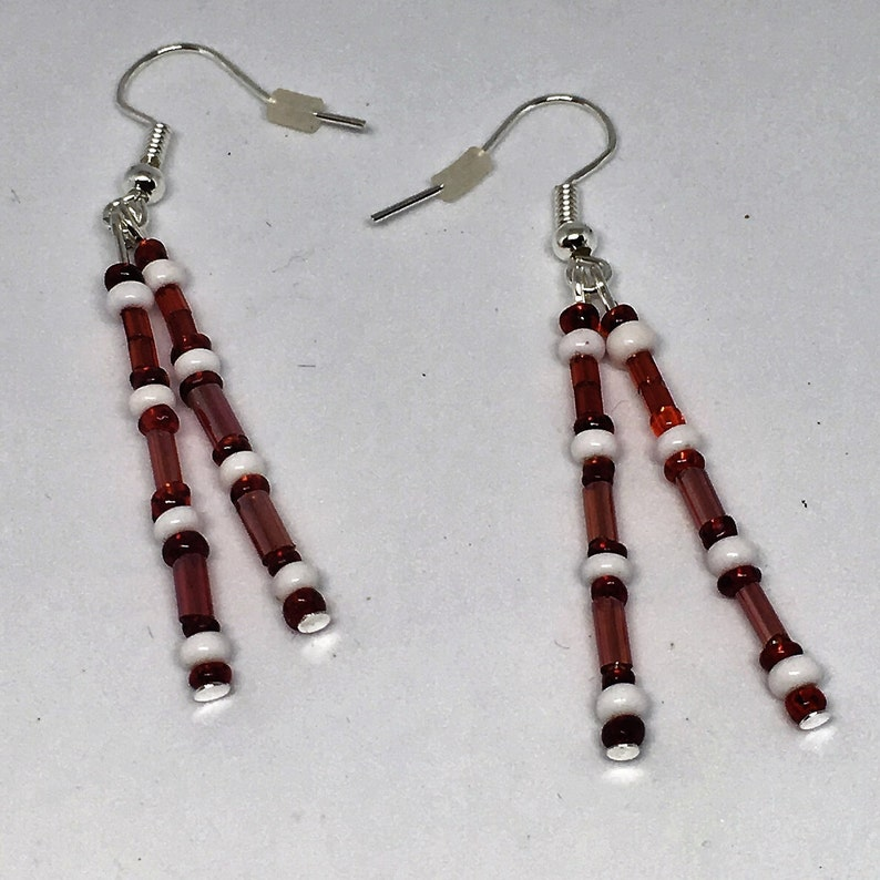 Beaded dangle earrings seed and bugle beads red and white  red white and black  gold and blue