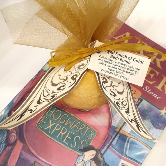 Winged Snitch Golden Bath Bomb - Harry Potter Gift - All Natural Bath Fizzer - Handmade Aromatherapy BathBomb - Snitch Inspired