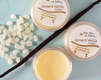 Lip Balm - Honey, Vanilla flavours - Cruelty Free - silky soft lips - Moisturising Lip Balm - natural balm - pamper package - Lip treatment