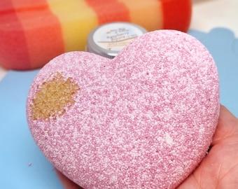 Raspberry Ripple Bath Bomb - Sweet Heart - Ice Cream - Valentine Gift - Aromatherapy Bath - Calorie free - All Natural Bath Fizz - Home Spa