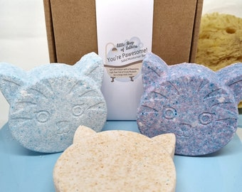Cool for Cats Bath and Body Gift - Cat Lover Gift - Crazy Cats - Cat shaped bath bombs - pawsome - purrfect gift idea for cat fans!