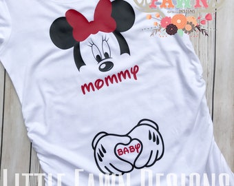 99273a034a Minnie Mouse Mommy and Baby Maternity Shirt -Disney Pregnancy - Pregnancy  Shirt - Bump Shirt - - Disney Shirt - Disneyland - Disney World