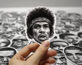Scribbled Jimi Hendrix - Vinyl Sticker