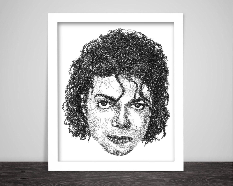 Scribbled Michael Jackson | Etsy