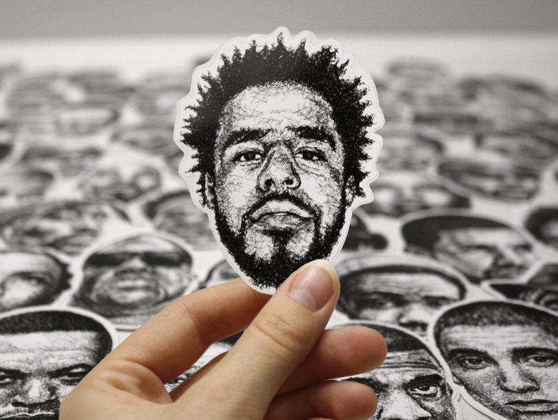 Scribbled J. Cole  Vinyl Sticker image 0