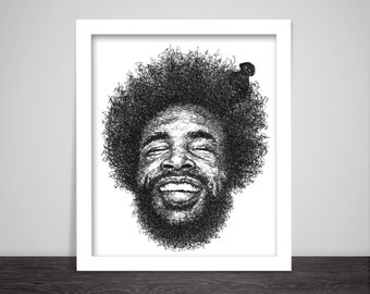 Scribbled Questlove - Hip Hop Poster
