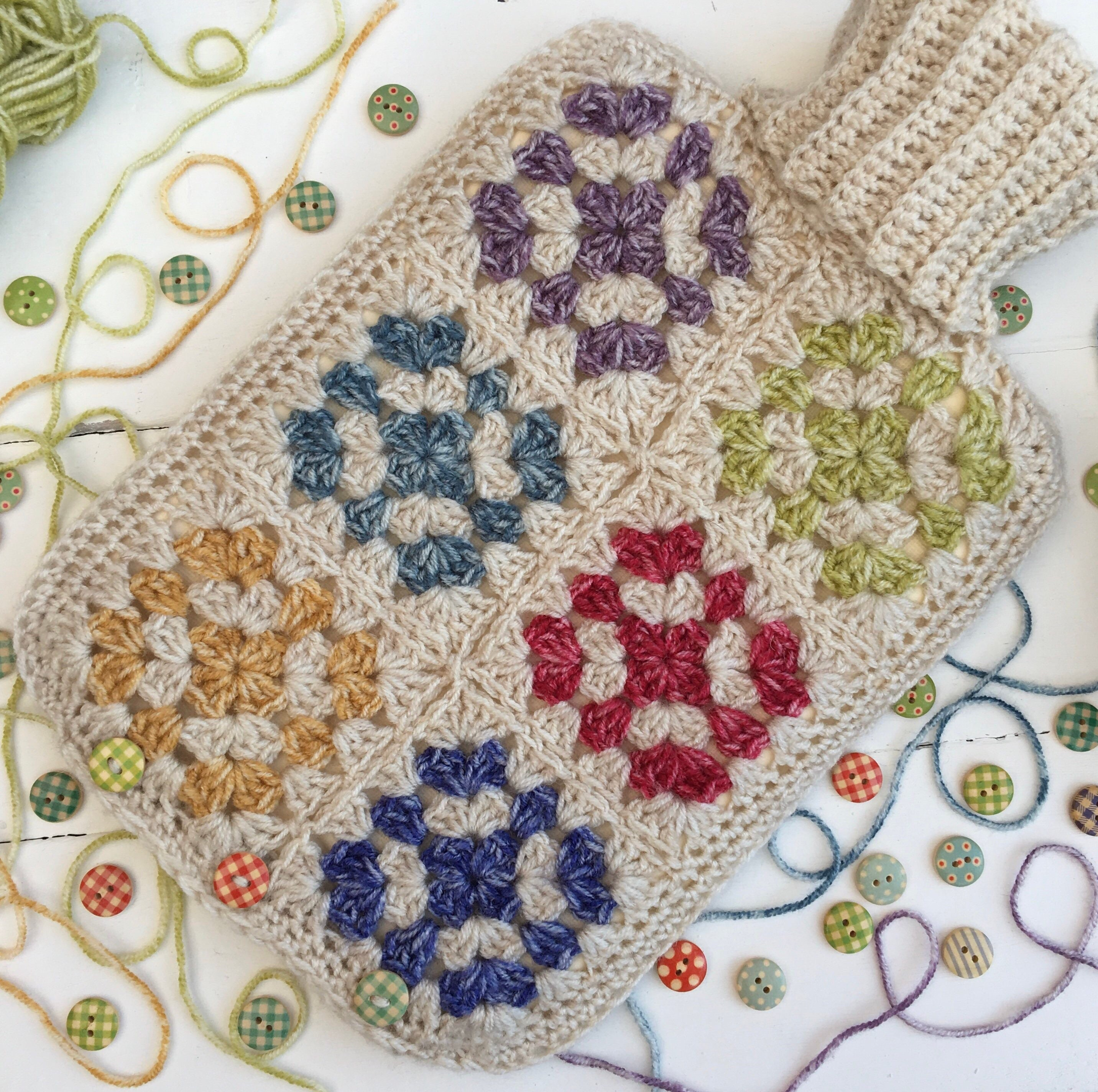 Granny Square Crochet Pattern Hot Water Bottle Cover Pattern Etsy