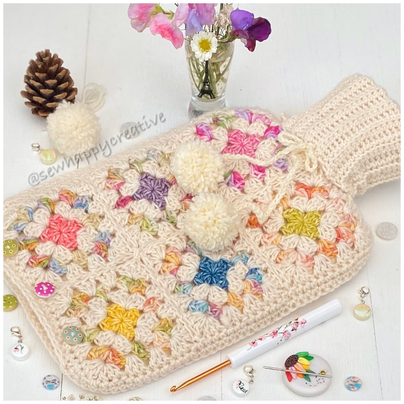 Granny Square Crochet Pattern Hot Water Bottle Cover Pattern image 0