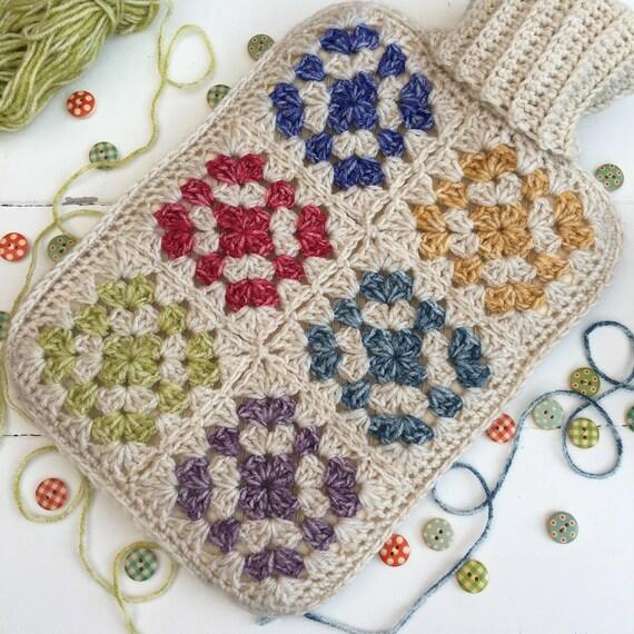 Granny Square Crochet Hot Water Bottle Cover Crochet Etsy