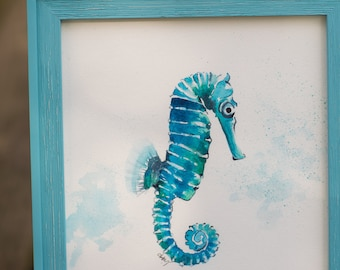 Watercolor Seahorse Painting